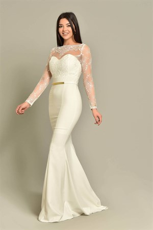 White Arched Design Evening Dresses