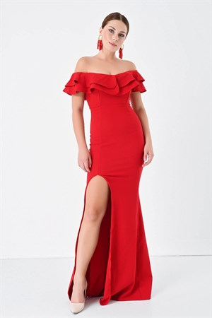 Red Hand-Wheel Dress