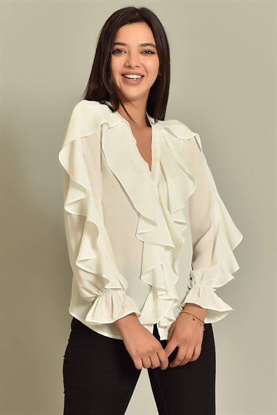 White Ruffle Detailed Shirt