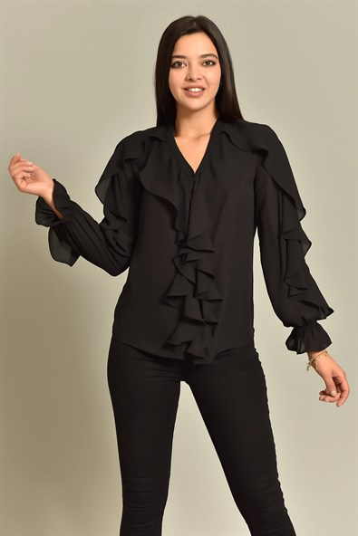 Black Ruffle Detailed Shirt