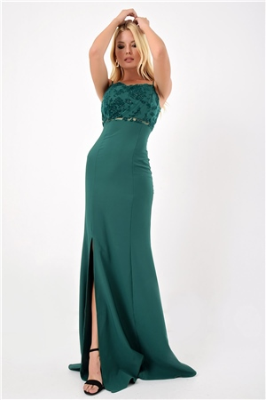 Laced Detail Green Rope Halter Dress